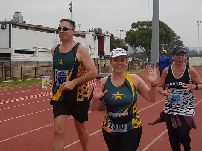Bronwyn and Dave finishing the SAPS Striders Half Marathon