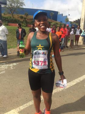Nana at the end of the Township to Township Half Marathon